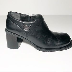 Harley-Davidson Black Leather Ankle Booties